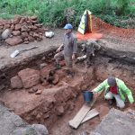 An image of some of the team working in the trench during the archaeological fdig at Nesscliffe Hillfort.