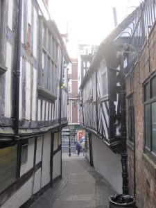 An image of an alleyway in Shrewsbury town centre. These streets will feature in Mythstories shut story walks.