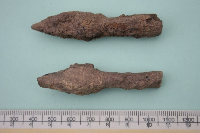 An image of the armour piercing arrowheads found during the first ever excavation at Shrewsbury Castle.