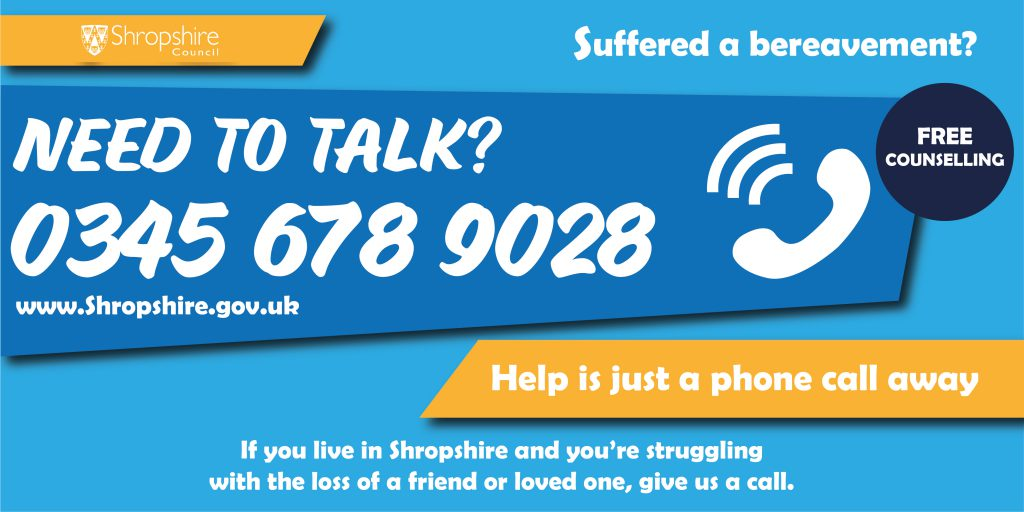 FREE Bereavement counselling is available to everyone in Shropshire