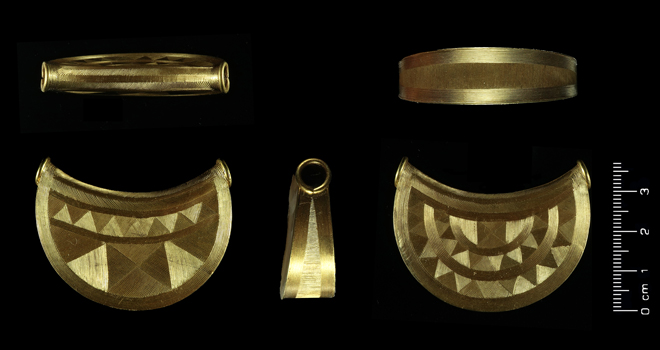 An image of the Bronze Age gold bulla that was found in Shropshire in 2018. The bula could potentially hold international importance due to it's rarity.