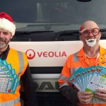 Veolia staff with Xmas calendars