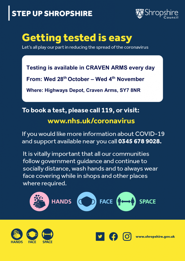Details of covid testing in Craven Arms