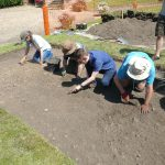 An image of the dig team at Shrewsbury Castle during the excavation