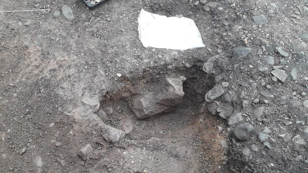 An image of a medieval post hole found at Shrewsbury Castle during the first ever excavation at the historic site.