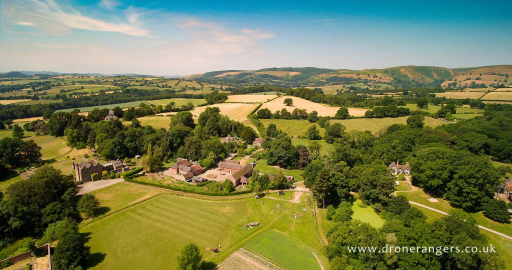 An image of Acton Scott Historic Working Farm taken by a drone. Acton Scott Historic Working Farm will be hosting the Folk at the Farm festival