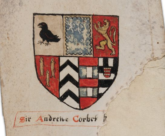 An image of the Corbet Shield on the Ludlow Castle Heraldic Roll which will feature in the new exhibition at Shropshire Museums Collections Centre in Ludlow.