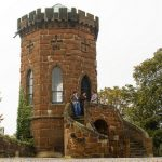 An image of Laura's Tower at Shrewsbury Castle with green trees to the right and ivy growing up the side. Laura's Tower is open for the Heritage Open Days festival.