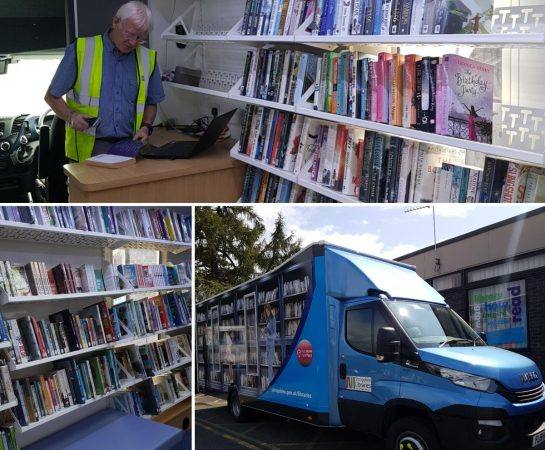 An image of a compilation of three photos of the new mobile library that has joined the Shropshire Libraries fleet.