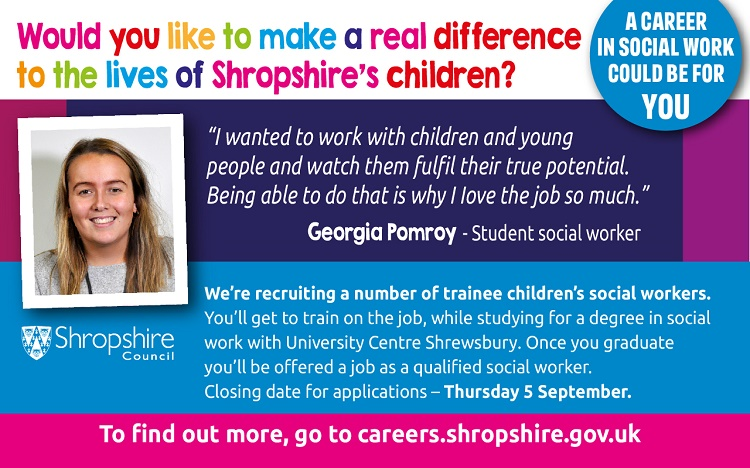Shropshire Council to recruit and train eight trainee children's social  workers - Shropshire Council Newsroom