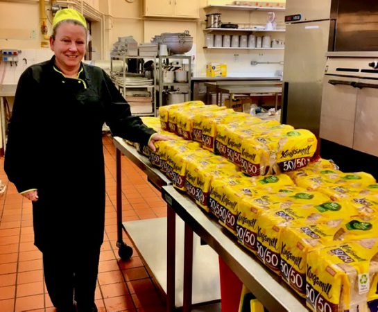 Michelle Clarkson from the Grove School Catering Team with the loaves of bred for the schools' breakfast initiative