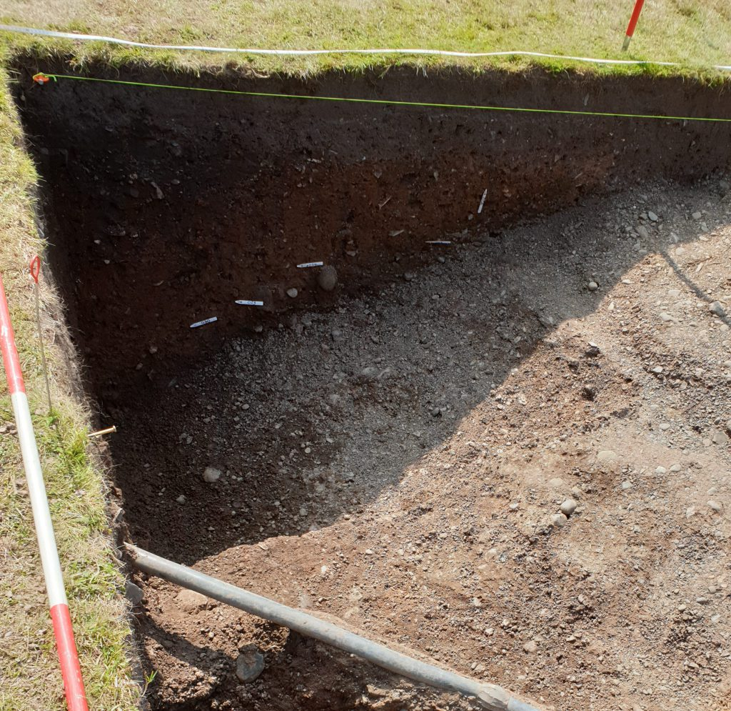 An image of the Norman motte ditch found during the first ever excavation at Shrewsbury Castle.