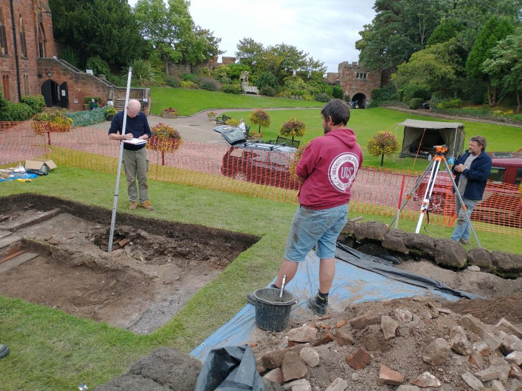 An image of the dig team working on the archaeological dig at Shrewsbury Castle.