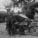 Postman in front of post office motorbike, c.1915-20, Shropshire Archives ref: PH/B/34/85/355