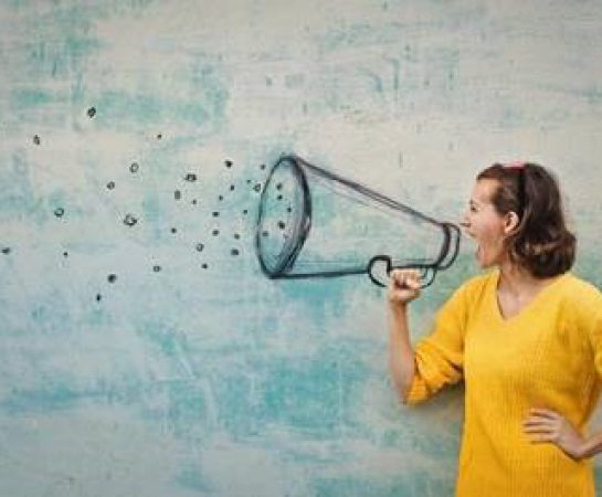 An image of a lady pretending to shout through a sketched megaphone.