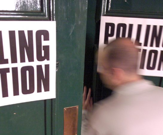 A picture of a polling station to demonstrate voting.
