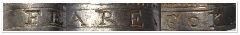 An image of the engraving on the silver thimble that reads FEARE GOD. The thimble was found in Shropshire and has been declared as treasure.