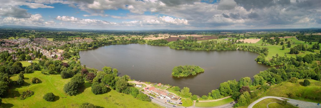 An aerial image of The Mere in Ellesmere which has been awarded the Green Flag award.