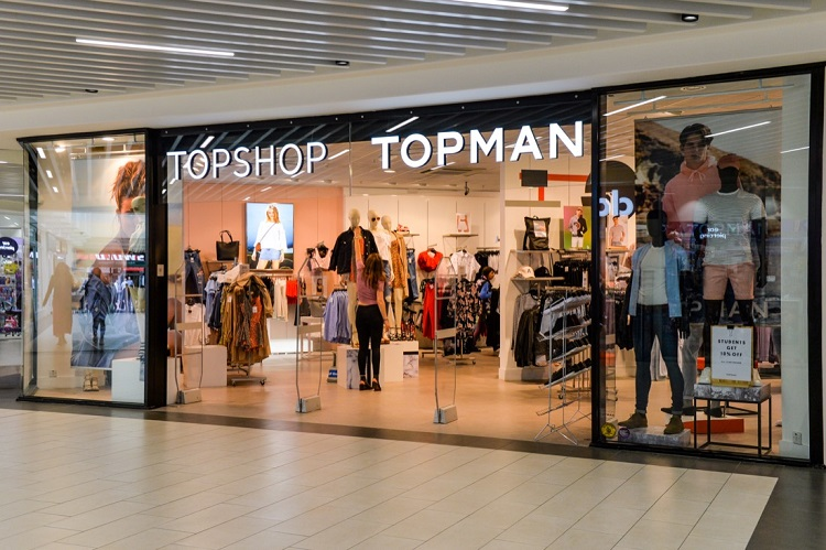 The Top Shop and Top Man store in Shrewsbury's Darwin Shopping Centre