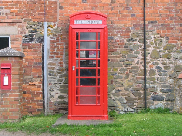 BT payphone - a red phonebox, in Shropshire