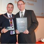 Clive Gwilt, building control officer, receives an award