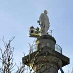 Stonemasons inspect Lord Hill's statue and The Column