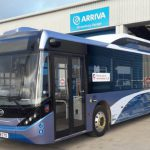 One of the electric buses trialled on Shrewsbury's park and ride service
