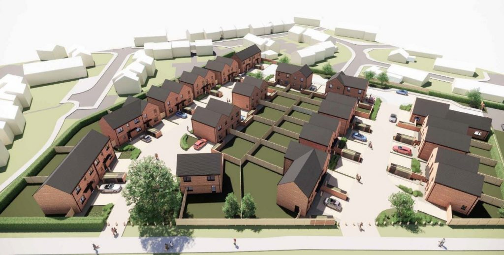 3D image of new housing planned at Firth Close, Monkmmor, Shrewsbury by Cornovii Developments Limited