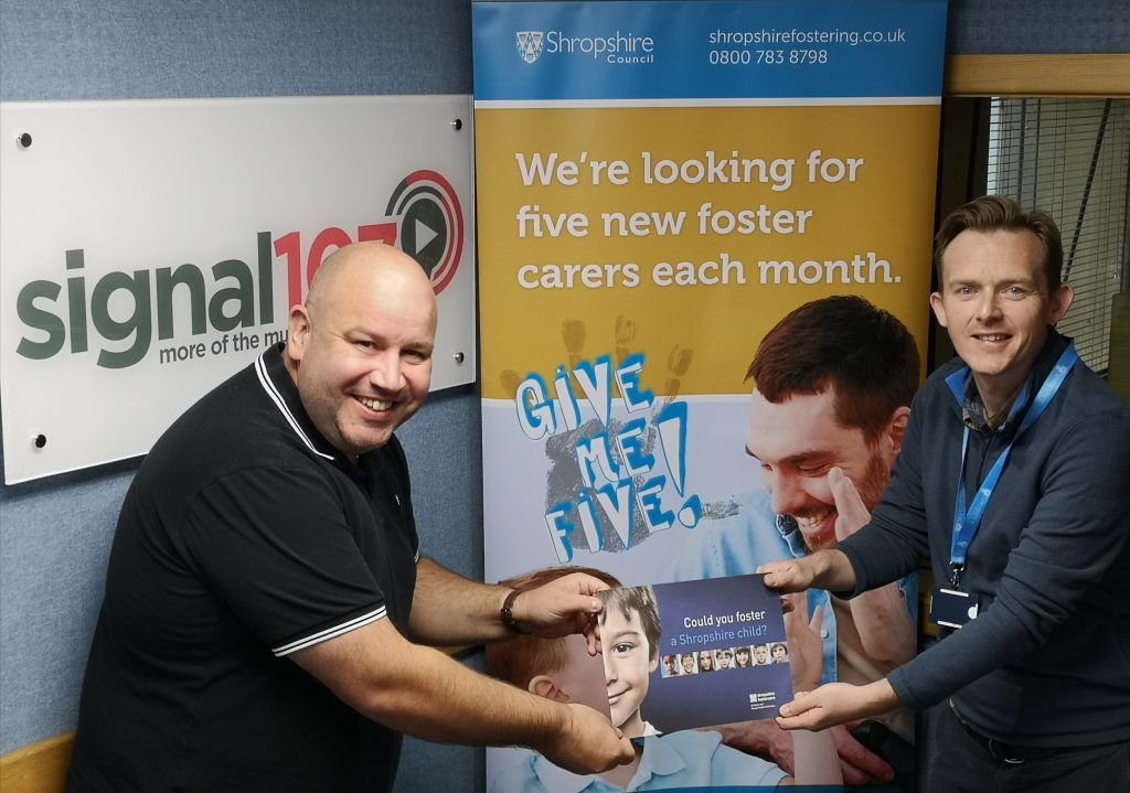 People launching Signal 107 Breakfast Show presenter Dickie Dodd and Ian Groom from Shropshire Fostering launch the new campaign""