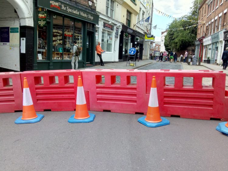Barriers at the top of Wyle Cop in Shrewsbury