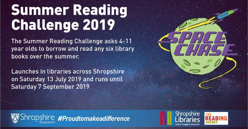 An image of Space Chase artwork. Space Chase is the theme of the 2019 Summer Reading Challenge run by the Reading Agency. Shropshire Libraries are encouraging primary school children to take part in Space Chase this summer.