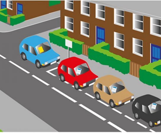An illustration of some cars parked on the side of the road outside some houses