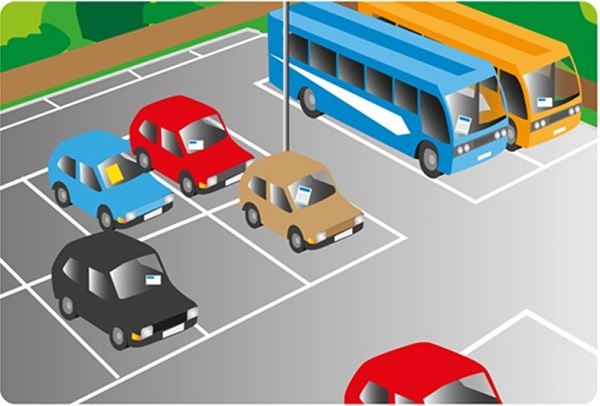 An illlustration of some cars and buses parked in a car park