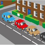 Illustration showing cars parked on the street.