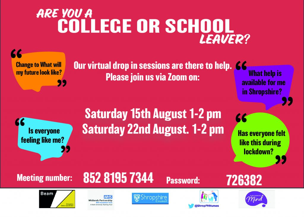 A poster advertising virtual drop in session for young people