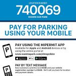 An example of a notice that will appear on all parking machines explaining how to pay for parking by mobile.