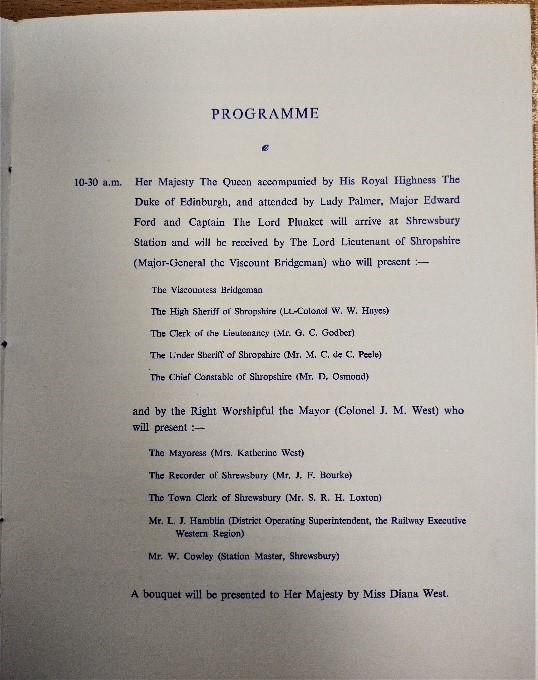 Photo: Programme of events from Shropshire Archives ref D 39.5 v.f.