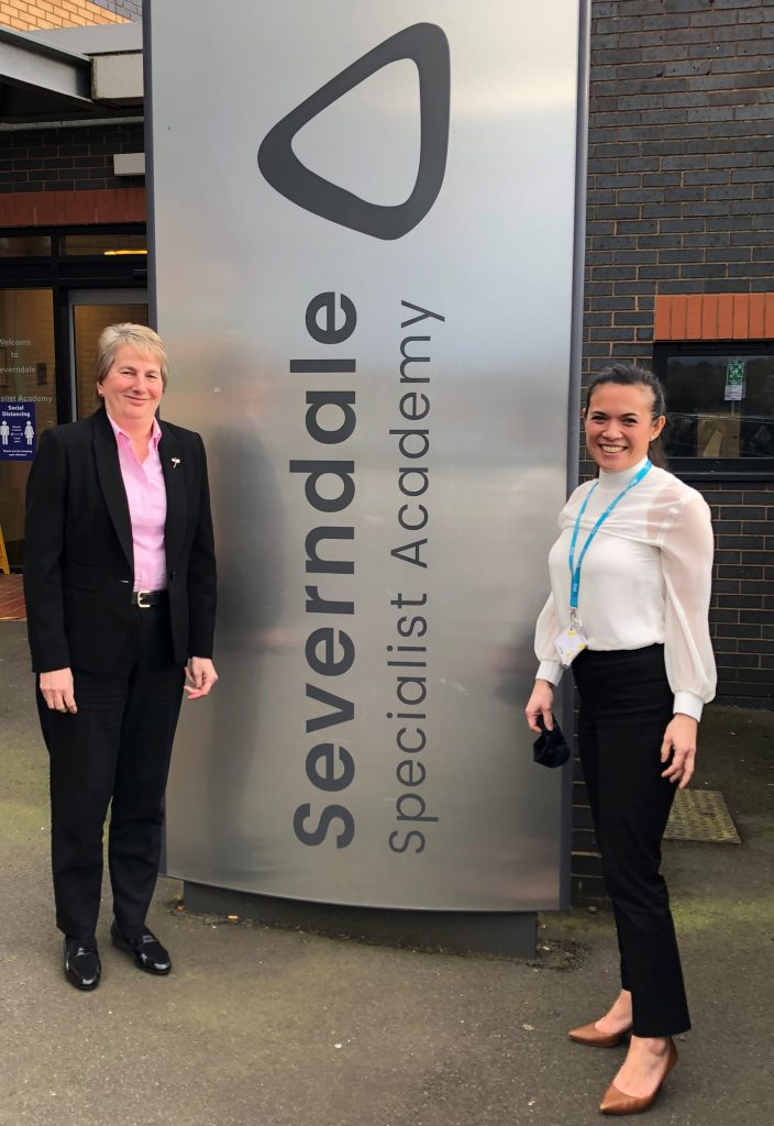 Dr Gill Eatough, chief executive of the Learning Community Trust, with Sabrina Hobbs at Severndale Academy