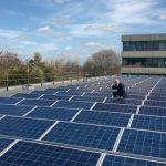 An image of the solar panels on Shirehall, the HQ of Shropshire Council who declared a climate emergency in 2019.