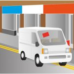 illustration of white van displaying a permit in its front window.